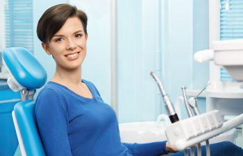 relaxed woman in a dental chair